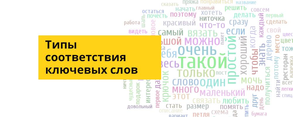 Типы соответствия ключевых слов Яндекс Директ